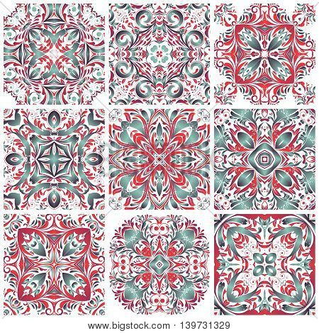 Mexican Stylized Talavera Tiles Seamless Pattern. Background For Design And Fashion. Arabic, Indian