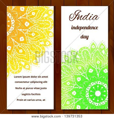 Vector illustration for the India Independence Day. 2 white greeting cards for celebration of India Independence Day with yellow and green beautiful mandala background and place for customers text