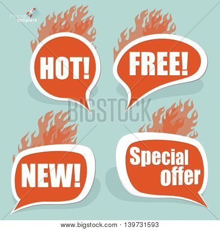 Special offer burning vector signs.