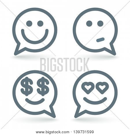 Smile comment emoticon vector icon set.