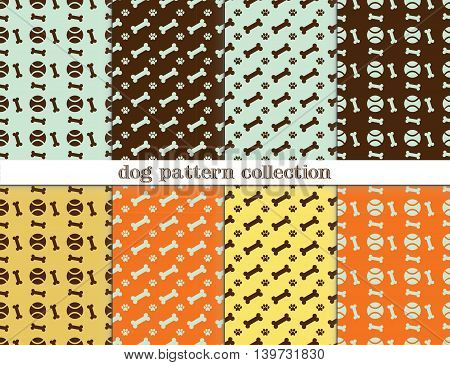 vector seamless patterns collection of dogs and dog supplies