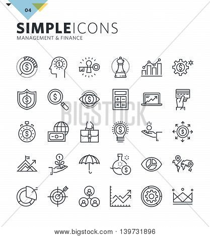 Modern thin line icons of management and finance. Premium quality outline symbol collection for web design, mobile app, graphic design. Mono linear pictograms, infographics and web elements pack.