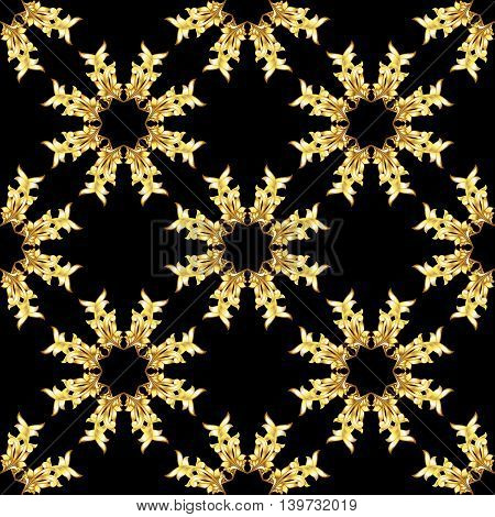 Seamless golden floral elements on black background