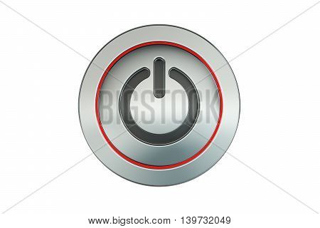 power button closeup 3D rendering isolated on white background