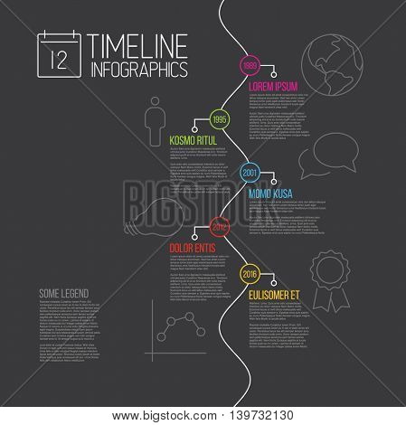 Vector Infographic timeline report template with the biggest milestones, icons, years and description - dark version