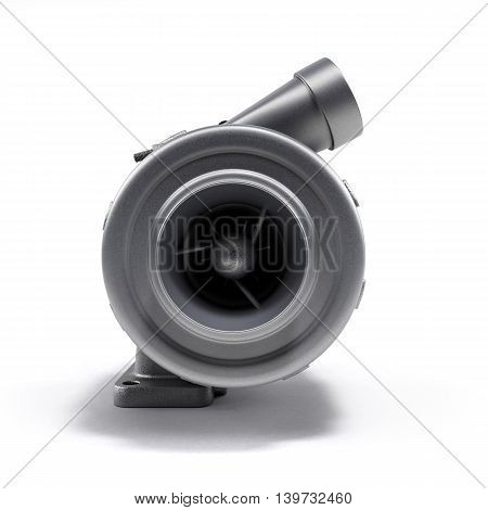 Automotive Turbocharger Turbine 3D Render On White