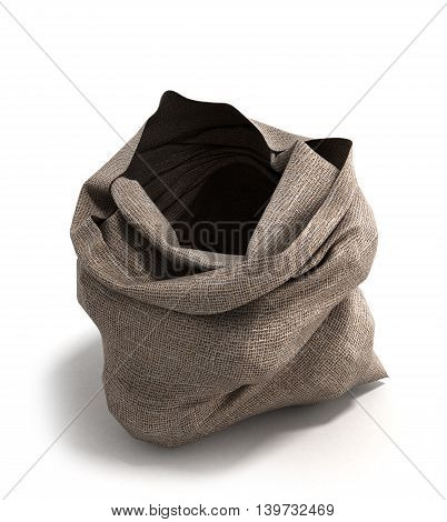 Empty Open Cloth Bag Front 3D Illustration Isolated On White