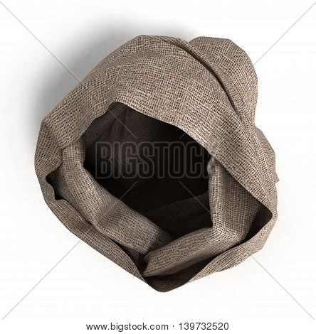 Empty Open Cloth Bag Top 3D Illustration Isolated On White