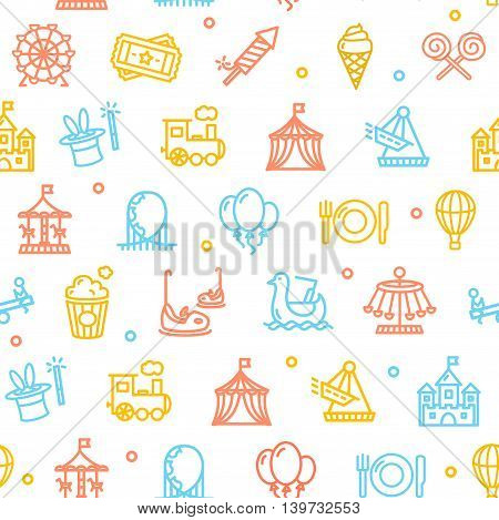 Amusement Park Background Pattern Colorful on White . Vector illustration