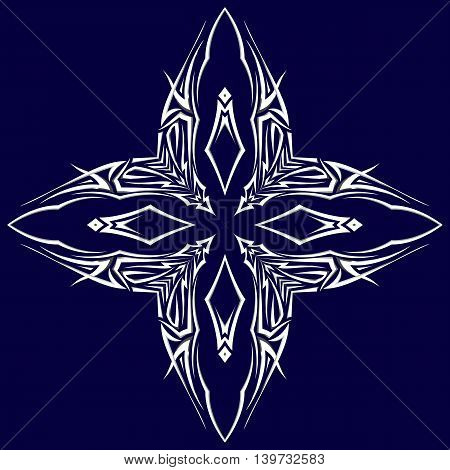 Sketch of tattoo as shuriken with four tips on darkblue background