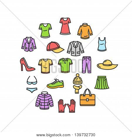 Clothes Round Design Template Thin Line Icon Set Isolated on White Background. Vector illustration