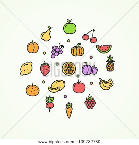 Fruits and Vegetables Round Design Template Thin Line Icon Set Isolated on White Background. Vector illustration