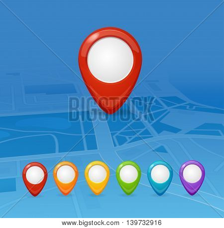 Maps and Colorful Pin Set Navigation. Vector illustration