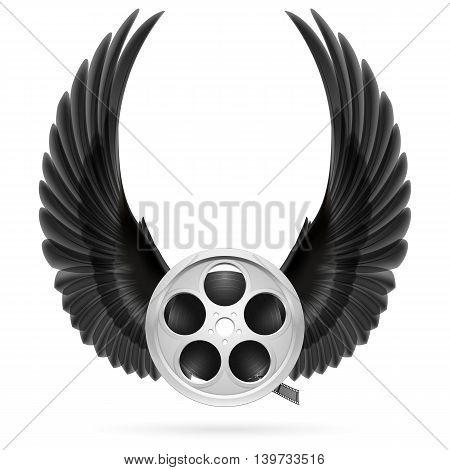 Realistic film reel with raised up black wings
