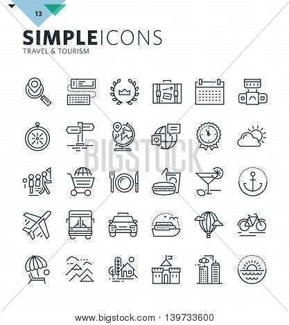 Modern thin line icons of travel and tourism. Premium quality outline symbol collection for web and graphic design, mobile app. Mono linear pictograms, infographics and web elements pack.