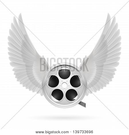Realistic film reel with white wings emblem