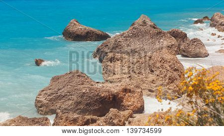 Kavalikefta beach,  Lefkada island, Greece. Picturesque view of rocky beach in summer sunny day
