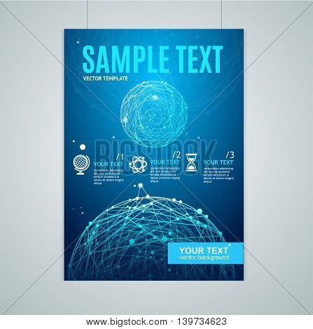 Card, Flyer or Placard with Abstract Geometry Sphere. Ready for Reports. Vector illustration