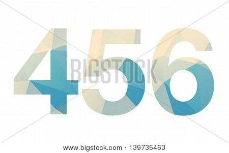 Modern bold font numbers siluhette with poligonal background on white