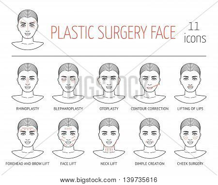 Set of line plastic surgery face icons. Flat design. Vector illustration