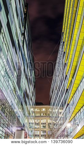Abstract night shot of modern office buildings