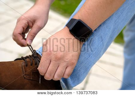 Smartwatch on the man's hand