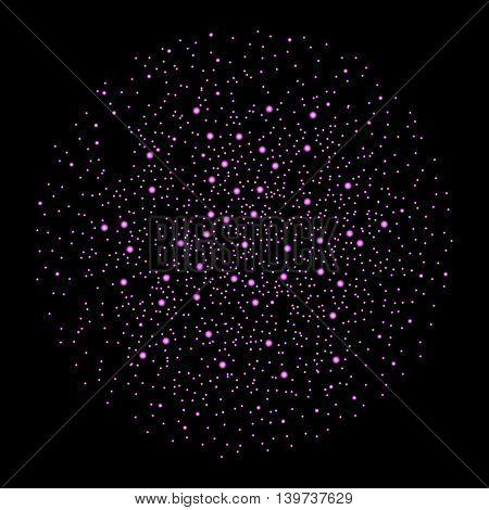 Violet Fireworks Isolated On Black Background. Vector Illustration