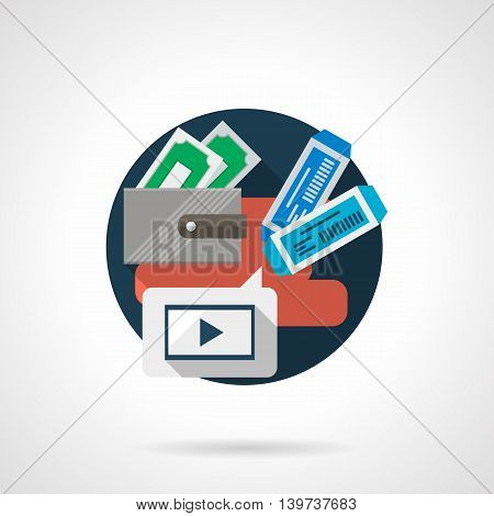 Abstract illustration for buy cinema tickets online with mobile device, tablet or PC. Wallet with money, two tickets and media player sign. Round detailed flat color style vector icon.