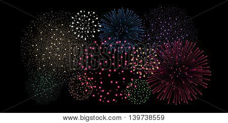 Multicolored Fireworks Isolated On Black Background. Vector Illustration