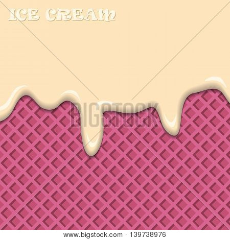 Ice cream with fruit pink wafer vintage abstract. Vector illustration