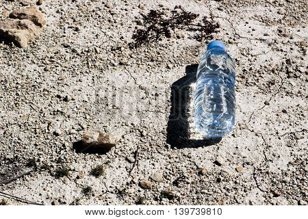 A water bottle on dry and cracked ground. Global warming, ecology concept