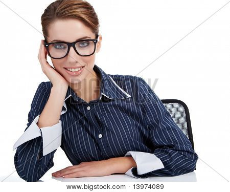Young happy businesswoman isolated over white background