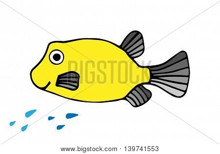 Smile yellow fish with sparks isolated on the white background.