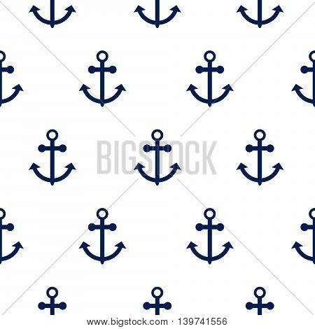 Seamless vector pattern with nautical anchors. Sea theme anchor simple dark blue repeat white background.