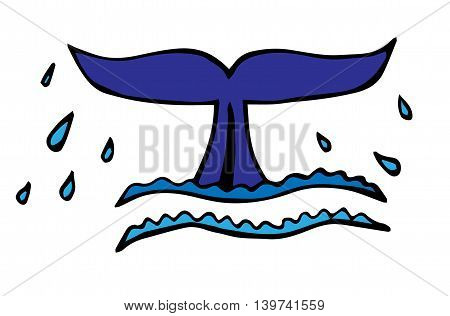 Tail of whale or big fish which peeks out from water with sparks isolated on the white background.