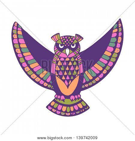OWL. Bird - symbol of wisdom. Design idea for print, t-shirt, postcard, poster and so on. Vector illustration.