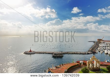 Sea port and sky in a summer day in Naples mediterranean southern Italy
