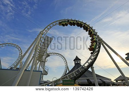 Rollercoaster ride at sunset