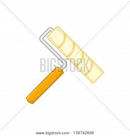 Paint roller icon in cartoon style isolated on white background. Repair symbol