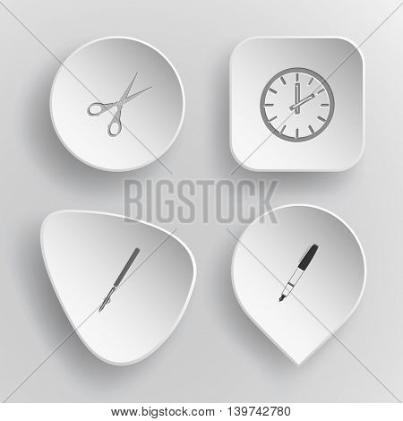 4 images: scissors, clock, ruling pen, ink pen. Education set. White concave buttons on gray background. Vector icons.