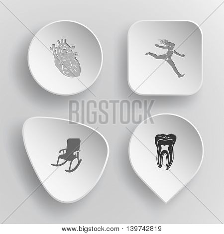 4 images: heart, jumping girl, armchair, tooth. Medical set. White concave buttons on gray background. Vector icons.