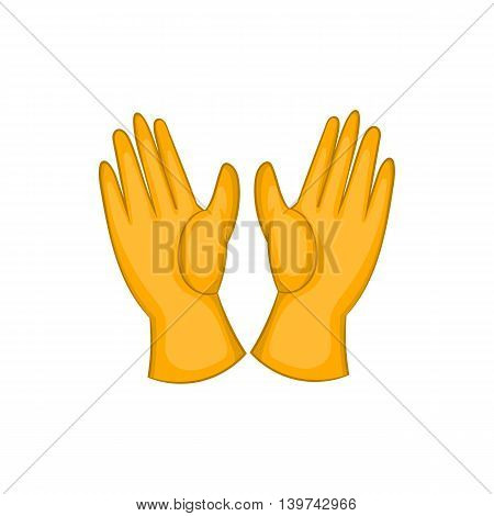 Rubber gloves icon in cartoon style isolated on white background. Cleaning symbol