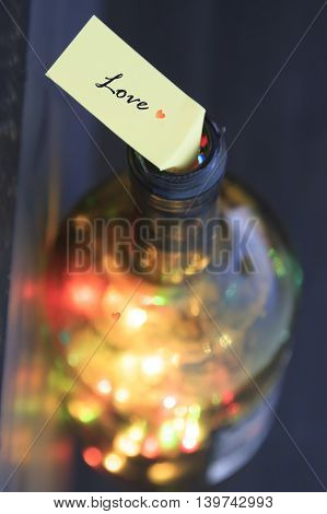 happy valentines day card, text love bottle with lights