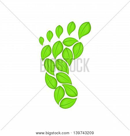 Eco footprint icon in cartoon style isolated on white background. Ecology symbol