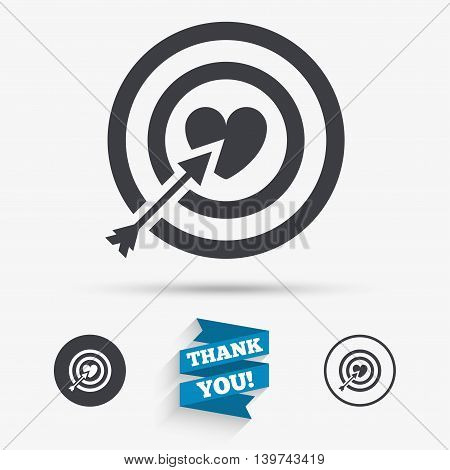 Target aim sign icon. Darts board symbol with heart in the center. Flat icons. Buttons with icons. Thank you ribbon. Vector