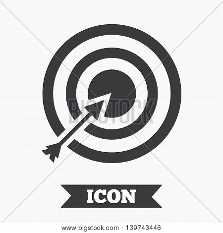 Target aim sign icon. Darts board with arrow symbol. Graphic design element. Flat aim symbol on white background. Vector