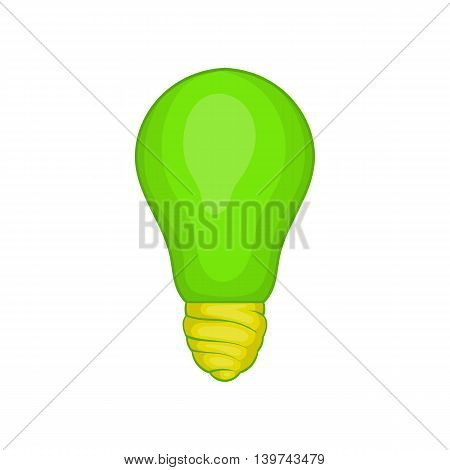 Eco light bulb icon in cartoon style isolated on white background. Electricity symbol