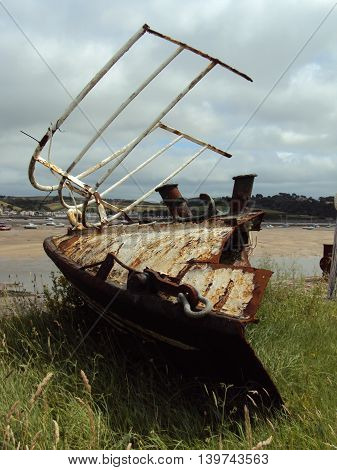 Rusted boat seascape photographed at Appledore in Devon