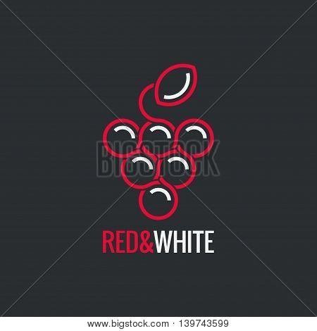 Bunch of grapes. Wine logo design vector background. 8 eps
