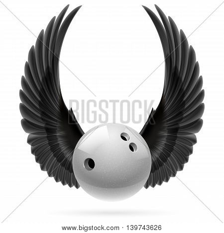 White bowling ball with raised up black wings